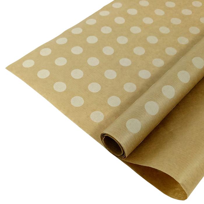 Бумага крафт 40гр/м2, 72см х 10м, Горох белый: цена 99 руб., купить оптом    Интернет-магазин «Микрос»